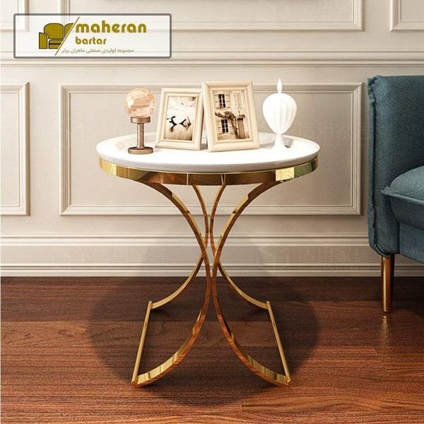 میز عسلی استیل طلایی با سنگ سفید لوکس