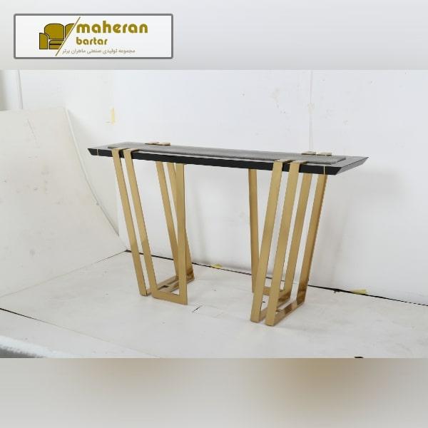 میز کنسول استیل مشکی طلایی