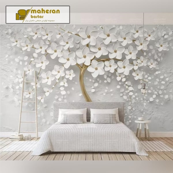 کاغذ دیواری سه بعدی طرح شکوفه سفید خوشگل