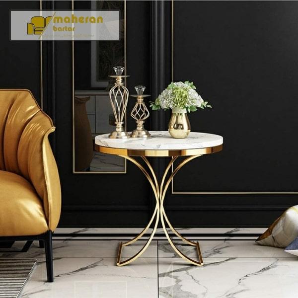 میز عسلی با پایه استیل طلایی با سنگ طفید